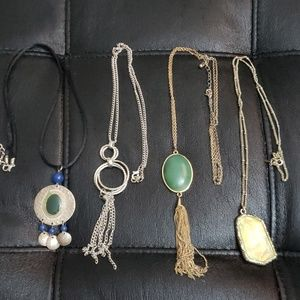 Jewelry - 4 long necklaces, tassle, stone, metal Lot